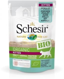 Schesir BIO Chicken Kitten - био храна с пилешко месо, за котки от 1 до 12 месеца 85 грама