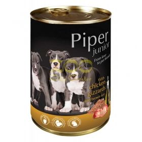 Piper Junior pet food with chicken gizzards and brown rice - с пилешки воденички и кафяв ориз, за малки кученца 400 грама